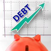 Debt Graph Means Money Due And Liabilities — Stock Photo