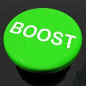 Boost Button Shows Promote Increase Encourage — Stock Photo