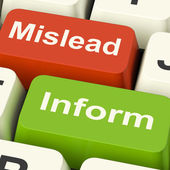 Mislead Inform Keys Shows Misleading Or Informative Advice — Stock Photo