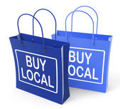 Buy Local Bags Promote Buying Products Locally — Foto de Stock