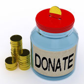 Donate Jar Means Fundraiser Charity And Giving — Stock Photo