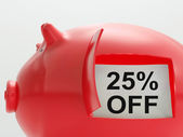 Twenty-Five Percent Off Piggy Bank Shows Price Slashed 25 — Stockfoto