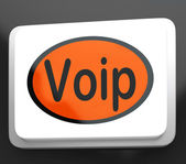 Voip Button Means Voice Over Internet Protocol Or Broadband Tele — Stock Photo