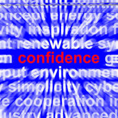 Confidence Word Shows Self-Assurance Composure And Belief — Stock Photo