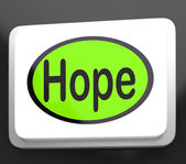 Hope Button Shows Hoping Hopeful Wishing Or Wishful — Stock Photo