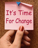 Its Time For Change Note Means Revise Reset Or Transform — Foto de Stock
