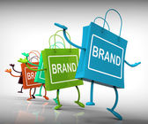 Brand Bags Represent Brands, Marketing, and Labels — Stock Photo