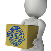 Solutions Box Means Solving Problems And Improvement — Stock Photo