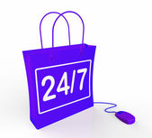 Twenty-four Seven Bag Represents Online Shopping Availability — Stock Photo
