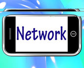 Network Smartphone Means Online Connections And Contacts — Stock Photo