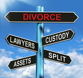 Divorce Signpost Means Custody Split Assets And Lawyers — Stock Photo