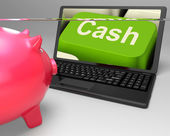 Cash Key Shows Online Finances Earnings And Savings — Stock Photo