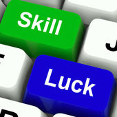 Skill And Luck Keys Mean Strategy Or Chance — Stock Photo
