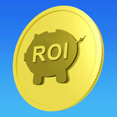 ROI Coin Shows Financial Return For Investors — Stock Photo