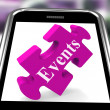 Events Smartphone Shows Calendar And What's On — Foto de Stock