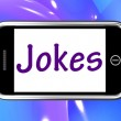 Jokes Smartphone Means Humour And Laughs On Web — Stock Photo #42172653