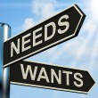 Needs Wants Signpost Means Necessity And Desire — Stock Photo
