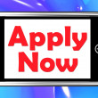 ������, ������: Apply Now On Phone Shows Job Applications And Recruitment