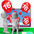 Number 16 Balloons from Monitor Show Online Invitation or Celebr — Stock Photo