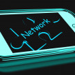 Network Smartphone Shows Connecting And Communicating On Web — Stock Photo