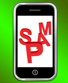 Spam On Phone Shows Unwanted Spamming Unsolicited And Malicious — Stock Photo