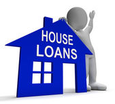 House Loans Home Shows Borrowing Repayments And Interest — Stock Photo