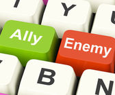 Ally Enemy Keys Mean Partnership And Opposition — Stock Photo