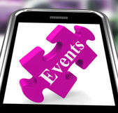 Events Smartphone Shows Calendar And What's On — Stock Photo