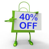 Forty Percent Reduced On Shopping Bags Shows 40 Bargains — Stock Photo