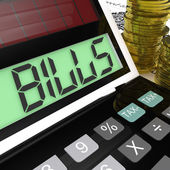 Bills Calculator Means Invoices Payable And Owing — Stock Photo