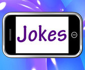 Jokes Smartphone Means Humour And Laughs On Web — Stock Photo