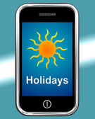 Holidays On Phone Means Vacation Leave Or Break — Foto Stock