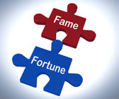 Fame Fortune Puzzle Shows Celebrity Or Well Off — Stock Photo