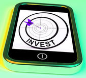 Invest Smartphone Shows Investors And Investing Money Online — Stock Photo