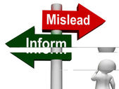Mislead Inform Signpost Shows Misleading Or Informative Advice — Stock Photo