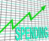 Spending Chart Graph Shows Increasing Expenditure Purchasing — Stock Photo