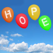 Four Hope Balloons Represent Wishes Dreams Goals and Hopes — Stock Photo
