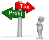 Tax Or Profit Signpost Means Account Taxation or Profits — Stock Photo