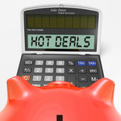 Hot Deals Calculator Shows Promotional Offer And Savings — Stock Photo
