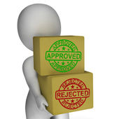 Approved Rejected  Boxes Mean Product Tests Or Checking Quality — Stock Photo