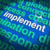 Implement Word Cloud Shows Implementing Or Execute A Plan — Stock Photo