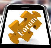 Forum Smartphone Shows Internet Discussion And Exchanging Ideas — Stock Photo