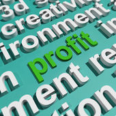 Profit In Word Cloud Shows Profitable Incomes And Earnings — Stock Photo