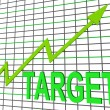 Target Chart Graph Shows Hit Or Hitting Targets — Stock Photo