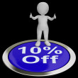 Ten Percent Off Button Shows 10 Off Product — Stock Photo