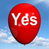 Yes Balloon Means Affirmative Approval and Certainty — Stock Photo