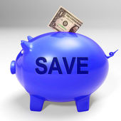 Save Piggy Bank Means Clearance Goods And Specials — Stock Photo