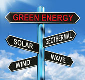 Green Energy Signpost Means Solar Wind Geothermal And Wave — Stock Photo