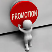 Promotion Button Shows New And Higher Role — Stock Photo