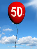 50 Balloon Shows Fiftieth Happy Birthday Celebration — Stock Photo